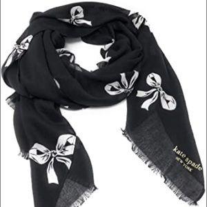 kate spade bow oblong scarf Black White